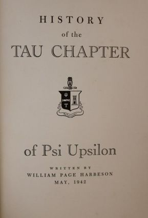 History of the Tau Chapter of Psi Upsilon