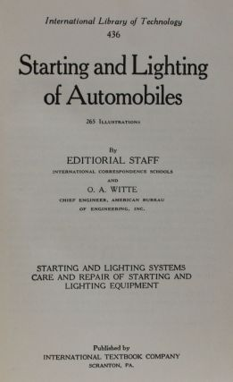 Starting and Lighting of Automobiles.