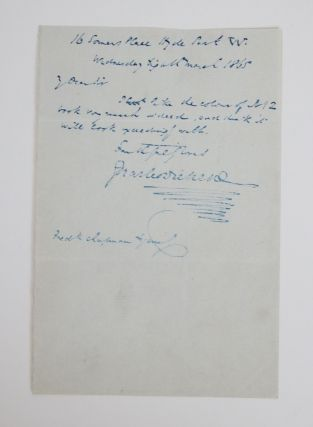 Autographed Charles Dickens Letter to Frederic Chapman. Charles Dickens